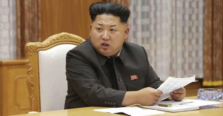 North Korean leader Kim Jong Un at a meeting of the Workers' Party of Korea (WPK) Central Military Commission