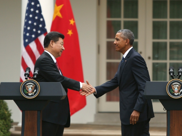 U.S. President Barack Obama and Chinese President Xi Jinping shake hands following a joint news conference in the Rose Garden at the White House in Washington September 25, 2015