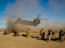 U.S. Army Rangers prepare for extraction during Task Force Training on Camp Roberts, California