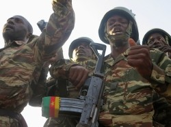 Cameroonian soldiers in Mabass, northern Cameroon, where Boko Haram militants kidnapped 80 people on January 18, 2015