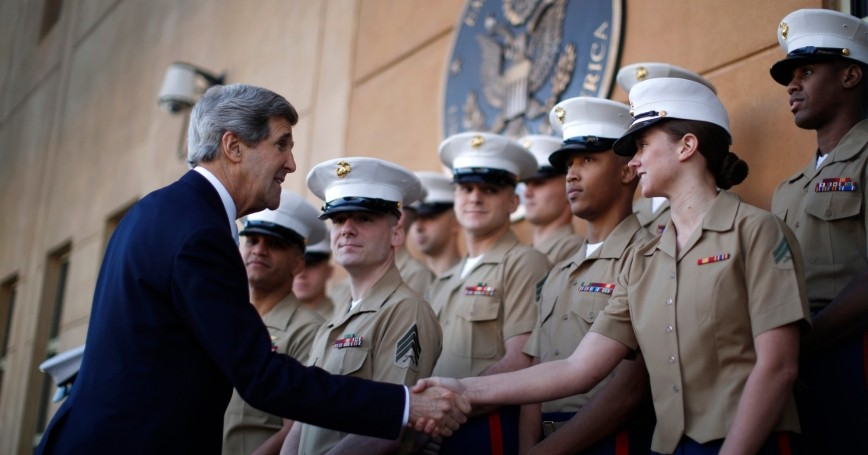 U.S. Secretary of State John Kerry shakes hands with U.S. Marines during his visit to the U.S. Embassy in Baghdad March 24, 2013