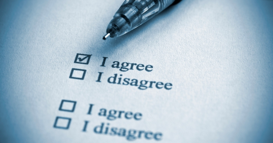 A survey with checkboxes for either agreeing or disagreeing