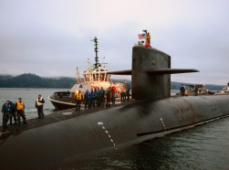 The Ohio-Class ballistic missile submarine USS Nevada returns to homeport at Naval Base Kitsap-Bangor following a strategic deterrent patrol