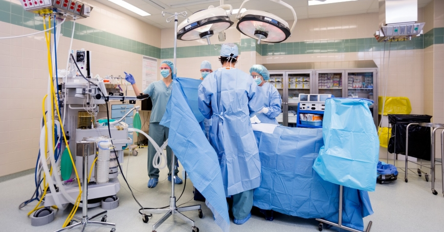 A surgical team in an operating room