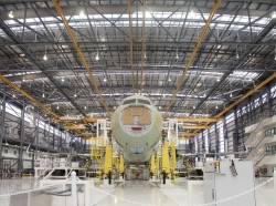An Airbus A321 being assembled at the new Airbus U.S. Manufacturing Facility in Mobile, Alabama, September 13, 2015