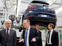 Volkswagen CEO Matthias Mueller gives a tour of the VW factory in Wolfsburg, Germany, October 21, 2015