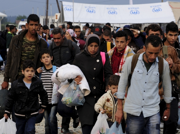 Refugees at a transit camp in Gevgelija, Macedonia, after entering the country by crossing the border with Greece, September 24, 2015