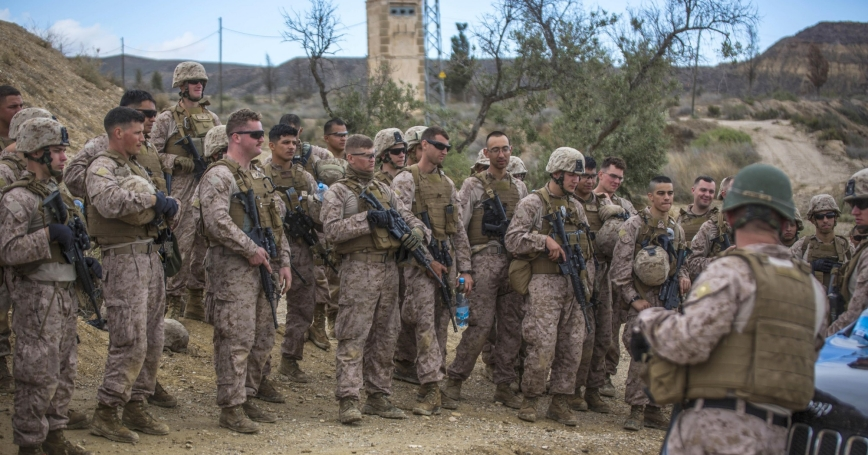 U.S. Marines receive a safety brief before they conduct live-fire drills during Trident Juncture 2015 in Almeria, Spain, October 27, 2015