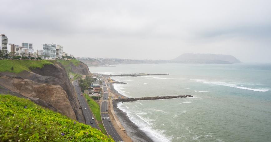 The coastline in the Miraflores district of Lima, Peru