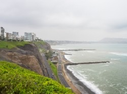The coastline in the Miraflores district of Lima, Peru