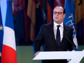 President Francois Hollande delivers a speech for the 70th General Conference of UNESCO in Paris, France, November 17, 2015