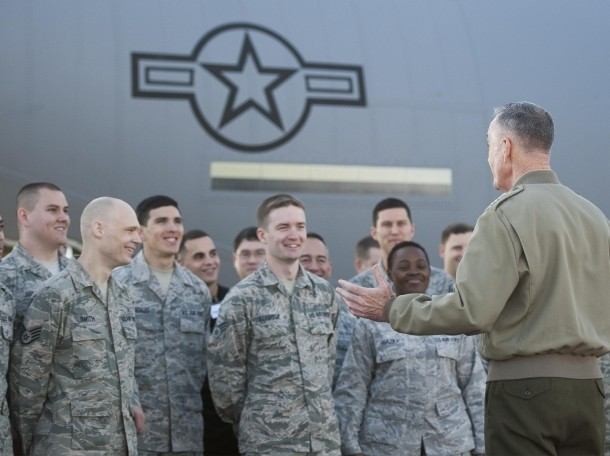 U.S. Marine Corps General, chairman of the Joint Chiefs of Staff, has a meet and greet with airmen on Yokota Air Base, Japan, November 4, 2015