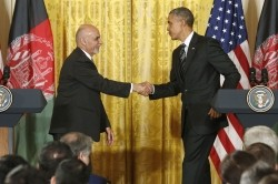 Afghanistan's President Ashraf Ghani and U.S. President Barack Obama after their joint news conference in Washington March 24, 2015