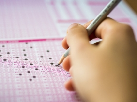 Student taking a standardized test