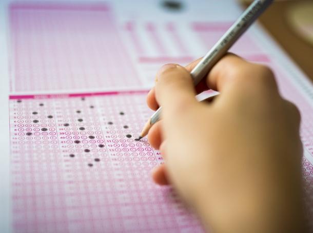 Student taking a standardized test
