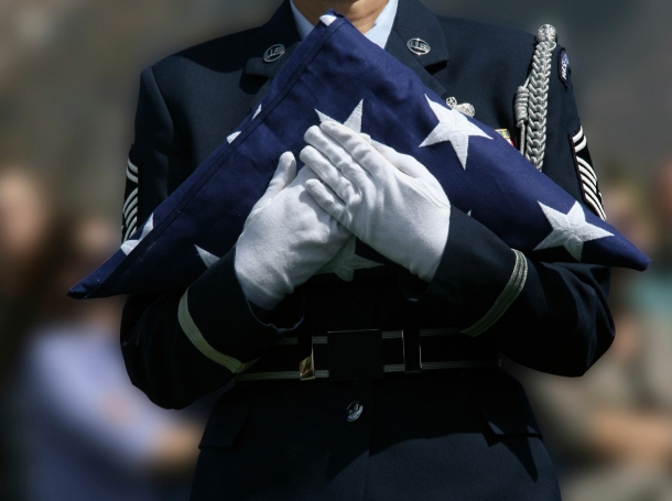 An honor detail at a military funeral