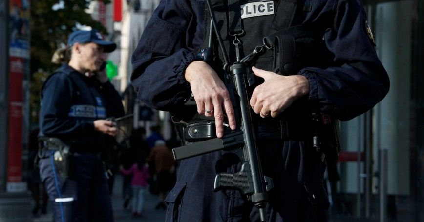 French police stand guard outside a commercial center in Nice, November 14, 2015, the day after a series of deadly attacks in Paris