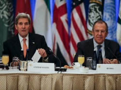 U.S. Secretary of State John Kerry and Foreign Minister of Russia Sergey Lavrov before a meeting of Foreign Ministers about Syria in New York, December 18, 2015