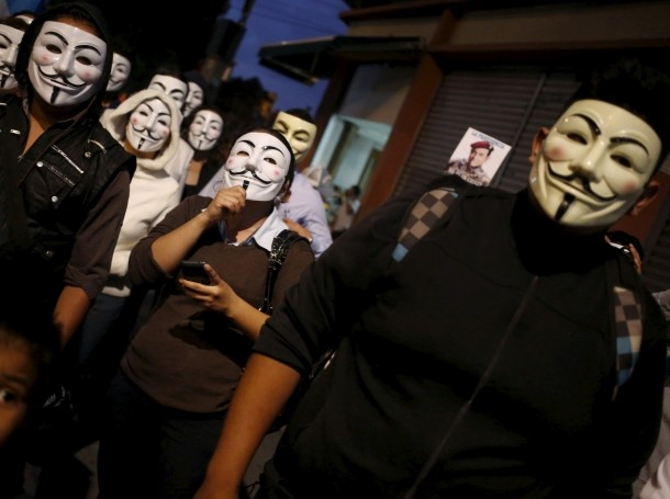 Protesters from the online activist group Anonymous