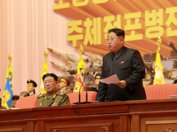 North Korean leader Kim Jong Un addresses the fourth conference of artillery personnel of the KPA in Pyongyang, December 5, 2015
