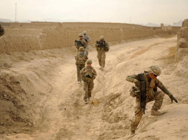 U.S. Army automatic rifleman with Provincial Reconstruction Team Zabul in Shah Joy, Afghanistan, November 2011