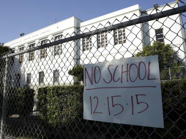 A no-school sign is pictured at Florence Nightingale Middle School in the Cypress Park neighborhood of Los Angeles, California, December 15, 2015