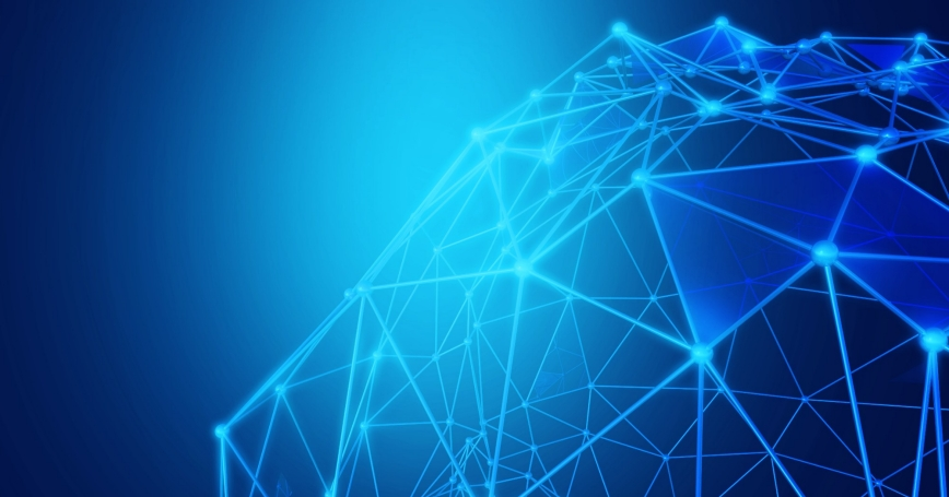 Blue abstract mesh of connecting lines