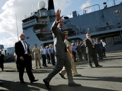 U.S. President Obama departs after his remarks and a tour of the Philippine Navy's BRP Gregorio Del Pilar at Manila Harbor, Philippines, November 17, 2015
