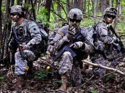 Army National Guard Infantry Soldiers and Reserve Officer Corps Training cadets conduct an air assault mission using UH-60M Black Hawk helicopters and foot patrols at Camp Grayling, Michigan