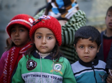 Syrian refugee children who crossed into Jordanian territory with their families, January 14, 2016