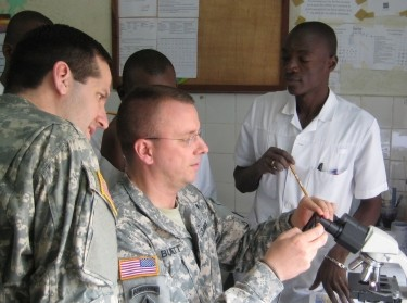 A demonstration on infectious disease identification and treatment from the Benin Armed Force in Contonou, Benin, January 2013