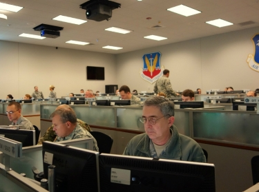 Members of the 183d Air Operations Group conduct simulated battle operations during exercise Virtual Flag, December 2015