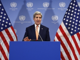 U.S. Secretary of State John Kerry delivers a statement that sanctions will be lifted on Iran after the IAEA verified that Iran has met all conditions under the nuclear deal, January 16, 2016, photo by Kevin Lamarque/Reuters