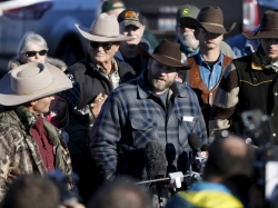 Leader of a group of armed protesters Ammon Bundy talks to the media at the Malheur National Wildlife Refuge near Burns, Oregon, January 8, 2016