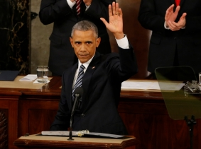 U.S. President Barack Obama waves at the conclusion of his State of the Union address to a joint session of Congress in Washington, January 12, 2016, photo by Carlos Barria/Reuters