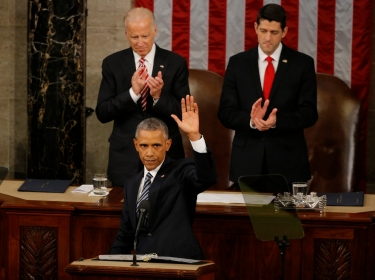 U.S. President Barack Obama waves at the conclusion of his State of the Union address to a joint session of Congress in Washington, January 12, 2016