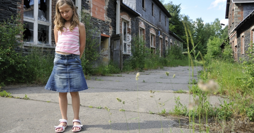 Young German girl plays alone