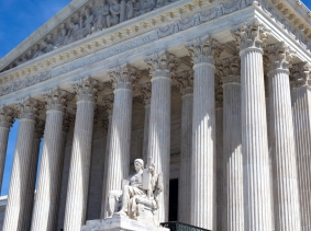 The facade of the United States Supreme Court building in Washington, D.C.