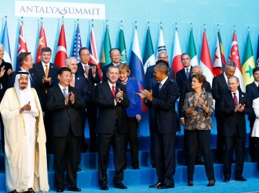 Members of the Group of 20 during the G20 leaders summit in Antalya, Turkey, November 15, 2015