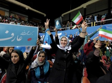 Iranian women take part in a reformist campaign for the upcoming parliamentary elections in Tehran February 20, 2016