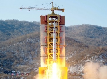 A North Korean long-range rocket is launched at the Sohae launch site in North Korea, February 7, 2016