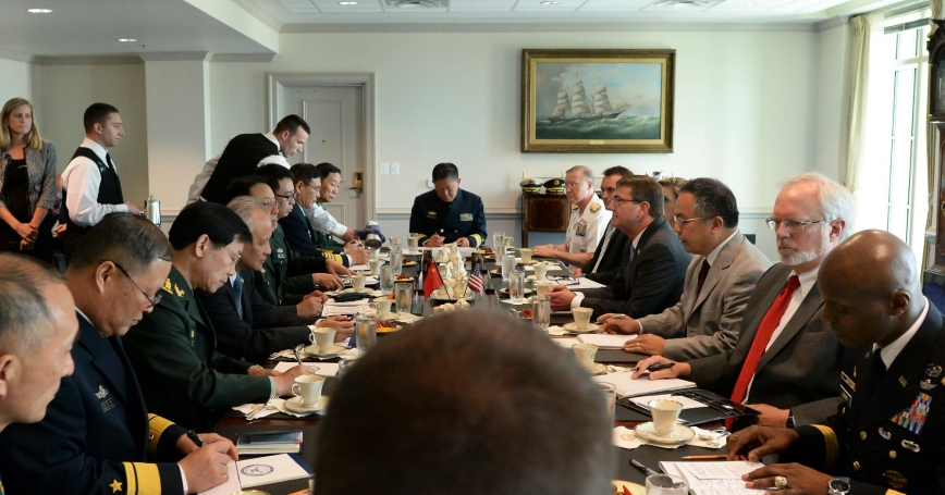 U.S. Defense Secretary Ash Carter meets with Chinese Gen. Fan Changlong, vice chairman of China's Central Military Commission, at the Pentagon, June 11, 2015