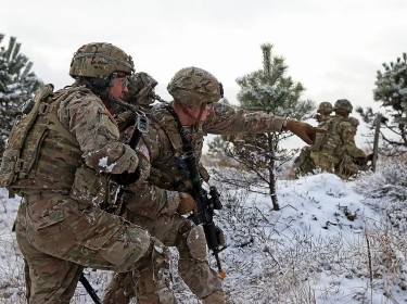 U.S. Army soldiers participate in a live-fire exercise in Konotop, Poland, January 18, 2016