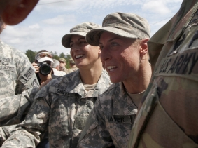 Capt. Kristen Griest and 1st Lt. Shaye Haver are congratulated at Ranger school graduation at Fort Benning in Columbus, Georgia, August 21, 2015, photo by Tami Chappell/Reuters