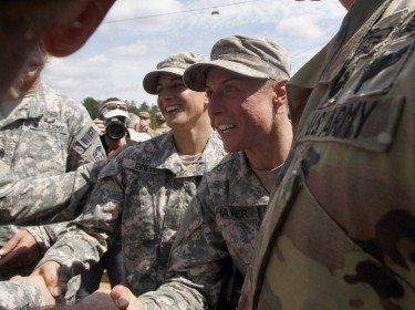 Capt. Kristen Griest and 1st Lt. Shaye Haver are congratulated at Ranger school graduation at Fort Benning in Columbus, Georgia, August 21, 2015