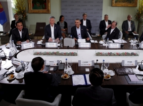 U.S. President Barack Obama hosts a meeting with leaders from the Association of Southeast Asian Nations (ASEAN) during a summit held at Sunnylands in Rancho Mirage, California, February 16, 2016