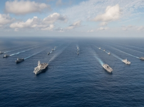 The Ronald Reagan Carrier Strike Group in formation with Japan Maritime Self-Defense Force ships for a photo exercise, November 23, 2015, photo by MC3 Nathan Burke/U.S. Navy