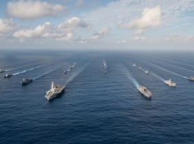 The Ronald Reagan Carrier Strike Group in formation with Japan Maritime Self-Defense Force ships for a photo exercise, November 23, 2015