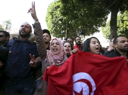 Unemployed graduates hold a demonstration to demand the government provide them with job opportunities, in Tunis, Tunisia, January 20, 2016
