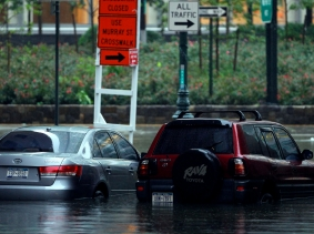 Cars stranded in flood waters from Hurricane Irene in lower Manhattan, August 28, 2011